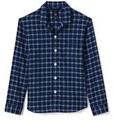 Lands' End Men's Classic Fit Flannel Pajama Shirt-Light Brown Tweed