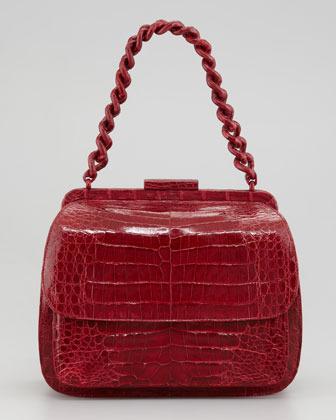 Nancy Gonzalez Framed Small Chain Lady Bag, Burgundy
