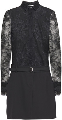 Philosophy di Lorenzo Serafini Belted Lace And Twill Mini Dress