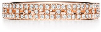 Tiffany & Co. & Co. T True narrow ring in 18k rose gold with pave diamonds, 3.5 mm wide - Size 4.5