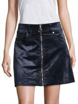 7 For All Mankind Zip-Front Velvet Mini Skirt