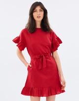 Mng Linen Ruffle Dress