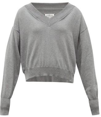 Maison Margiela Convertible-neckline Cotton Sweater - Grey
