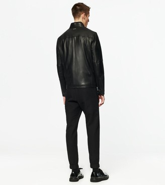Andrew Marc WILEY STAND COLLAR LEATHER JACKET