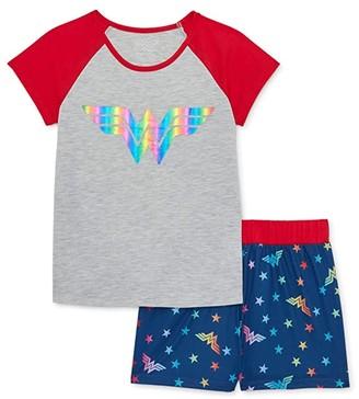 Komar Kids Wonder Woman Two-Piece Short Set (Little Kids/Big Kids) (Gray) Girl's Pajama Sets