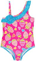 Pink Platinum Girls 4-6x Strawberry Print One-Piece Swimsuit