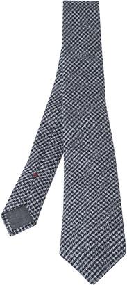 Brunello Cucinelli Navy Cotton Houndstooth Narrow Tie