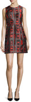 Milly Coco Sleeveless Brushstroke Rectangle-Print Dress, Flame