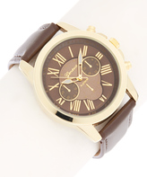 Geneva Platinum Gold & Chocolate Strap Chronograph Watch
