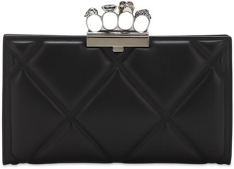 Alexander McQueen Leather Clutch W/ Skull Knuckle Ring