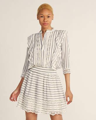 Scotch & Soda Eyelet & Stripe Fit & Flare Dress