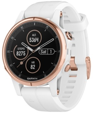Garmin Unisex fenix 5S Plus White Silicone Strap Smart Watch 42mm