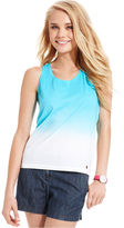 Tommy Hilfiger Juniors Top, Sleeveless Dip-Dye-Print Racerback Tank