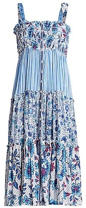 Poupette St Barth Triny Strapless Floral Midi Dress