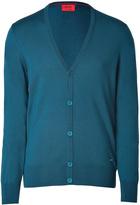 HUGO Wool Siadario Cardigan in Open Blue