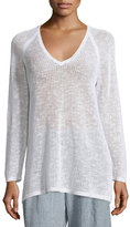 Eileen Fisher Long-Sleeve Organic-Knit Grid Tunic, White