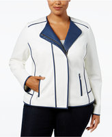 INC International Concepts Plus Size Piped Moto Jacket, Only at Macy's