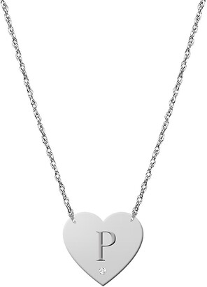 Jane Basch Designs Diamond & Initial Pendant Necklace