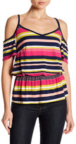 Laundry by Shelli Segal Printed Matte Cold Shoulder Blouse