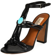 Valentino Embellished Woven Leather Sandal, Black/Turquoise