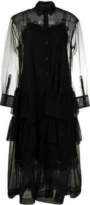 Simone Rocha Layered Ruffle-Detail Shirt Dress