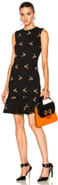 Victoria Victoria Beckham Flounce Hem Dress in Animal Print,Black.