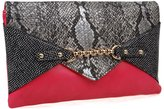 BMC Chic Multicolor Snakeskin Print Chain Accent Red Envelope Statement Clutch