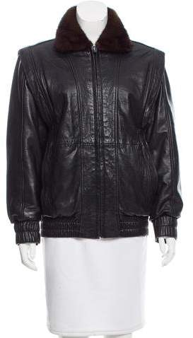 Andrew Marc Leather and Mink Fur Jacket