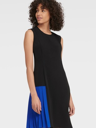 DKNY Women's Sleeveless Colorblock Dress - Black/Electric Blue - Size 0