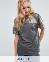 ASOS Tall ASOS TALL T-Shirt with Sequin Yoke in Boxy Fit