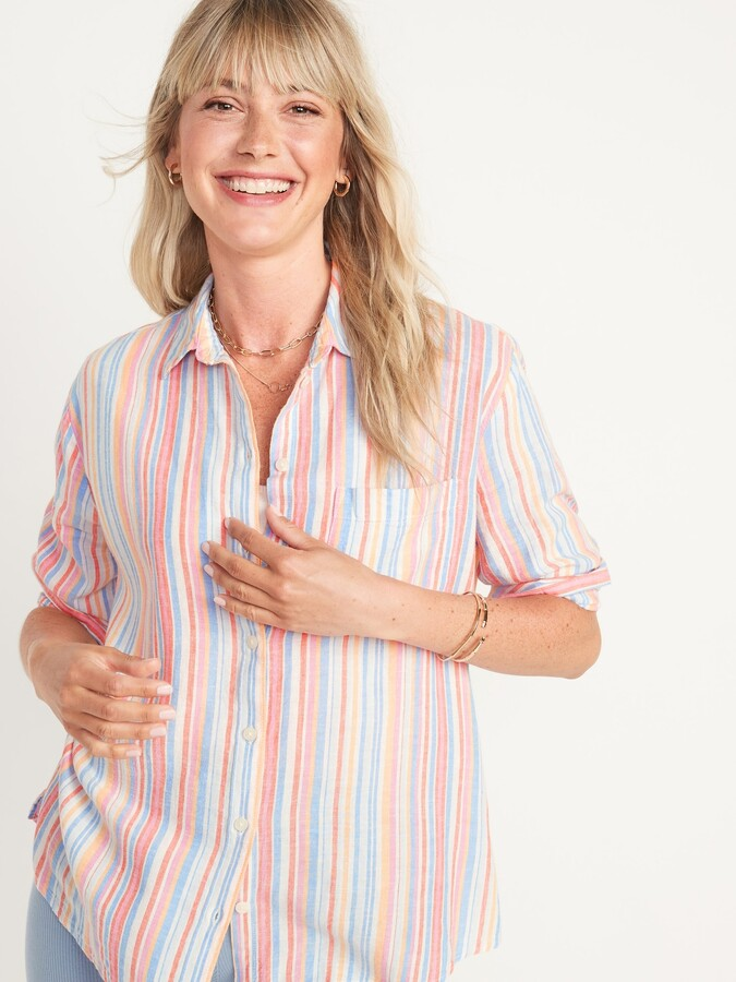 Thumbnail for your product : Old Navy Boyfriend Striped Linen-Blend Shirt for Women
