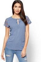 New York & Co. Soho Soft Shirt - Crochet-Trim Clip-Dot Blouse