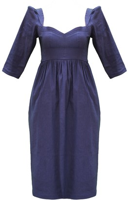 Onīrik Violet Dress - Navy Stretch Linen