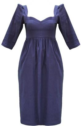 Onīrik Violet Dress with Sweetheart Neckline in Navy Stretch Linen