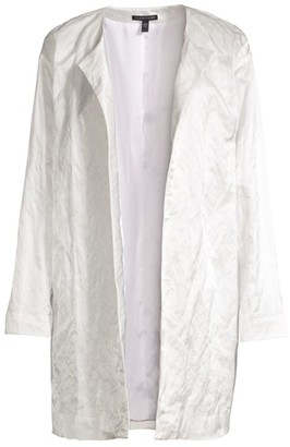 Eileen Fisher Satin Weave Open-Front Coat