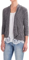 Forte Cashmere Mesh Stitch Cardigan Sweater - Cotton, 3/4 Sleeve (For Women)
