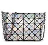 Katoony Girls PU Leather Geometric Metal Chain Shoulder Handbag Casual Crossbody Messenger Bag Purse