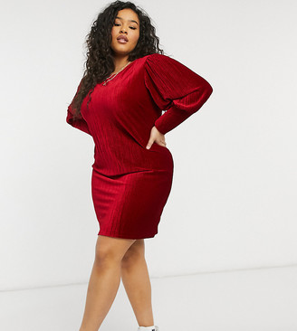 Simply Be velour shift dress with balloon sleeve detail in mulberry