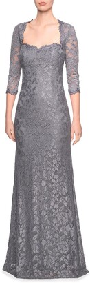 La Femme Sweetheart 3/4-Sleeve Lace Column Gown w/ Sequins
