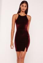 Missguided 90's Neck Split Hem Velvet Bodycon Dress Burgundy