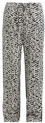 Haider Ackermann Greenfield Chevron-stripe Crepe Trousers - Womens - Black White