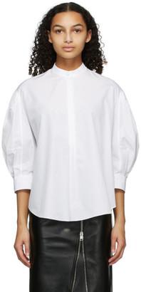 Alexander McQueen White Poplin Band Collar Shirt