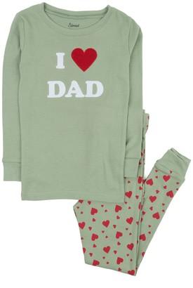 Leveret Olive Green I Love Dad 2-Piece Pajama Set (Toddler, Little Kids, & Big Kids)