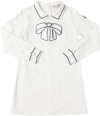 Moncler Cotton Piquet Dress W/ Bow Patch