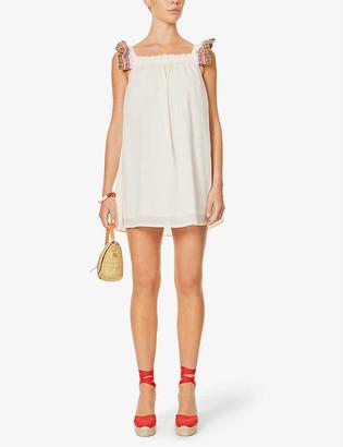 Pitusa Tea Party frilled-trim cotton mini dress