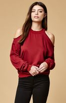 Honey Punch Distressed Cold Shoulder Sweatshirt