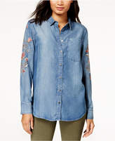 Free Heart Cotton Cameron Embroidered Chambray Shirt