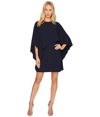 Halston Flyaway Sleeve Boatneck Asymmetrical Drape Dress