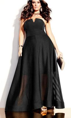 City Chic Textured Bella Maxi Dress - black