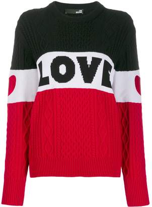 Love Moschino Love cable knit color-block sweater